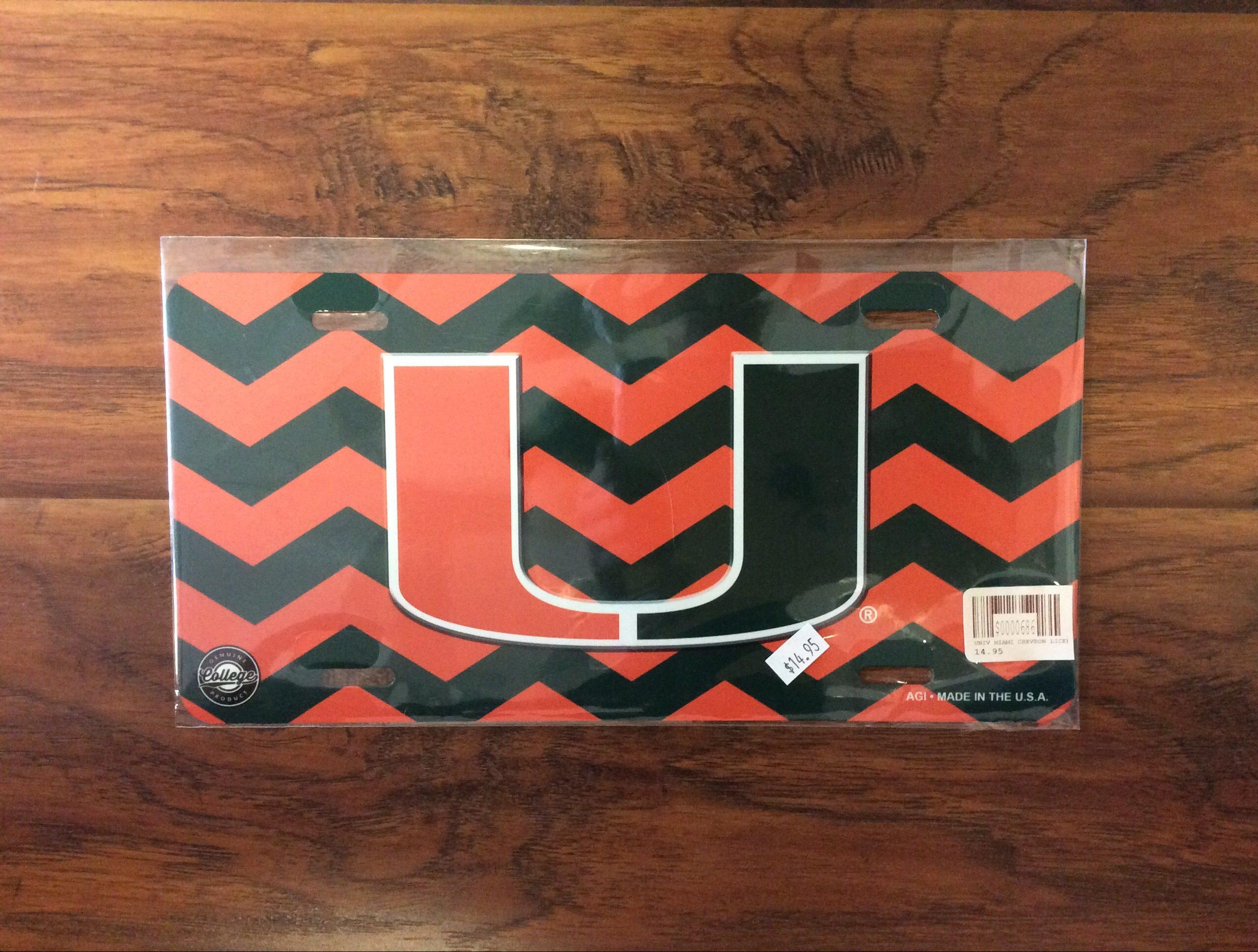 University of Miami chevron license plate