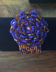 Bead Bracelet (orange and blue) flower design