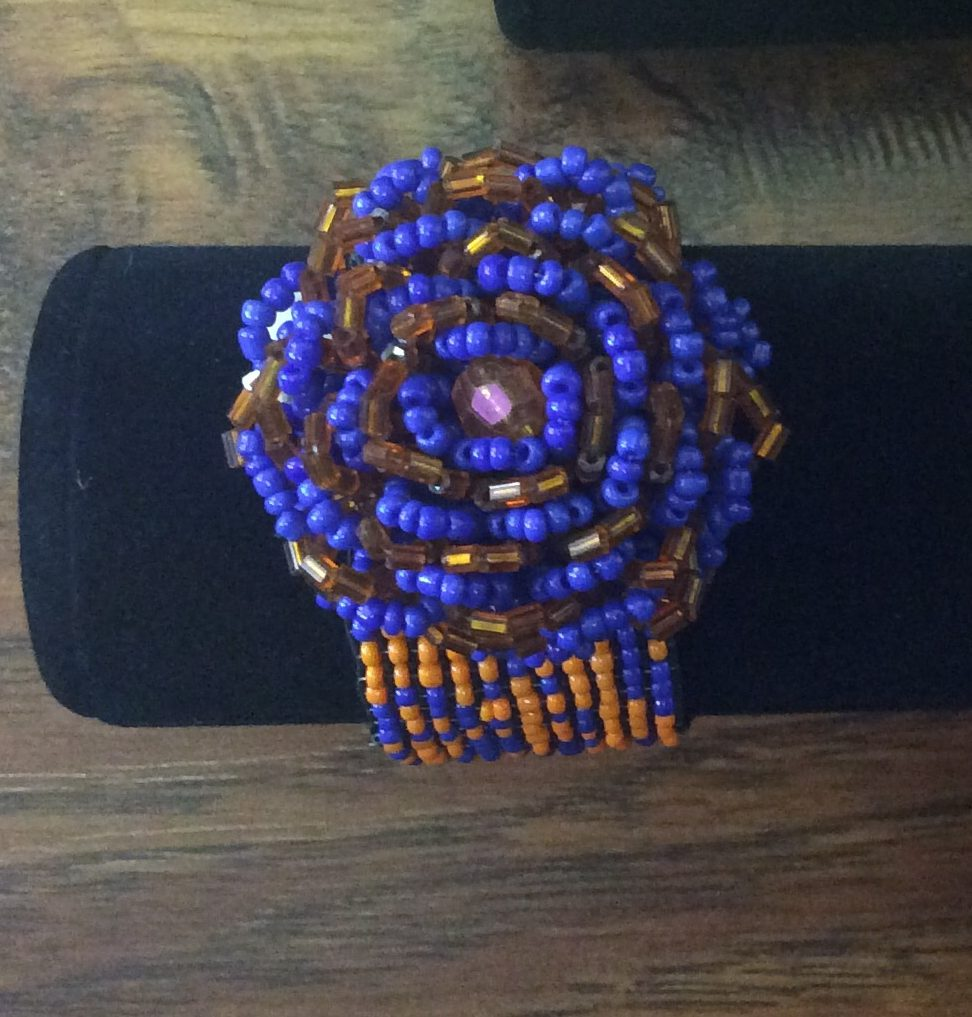 Bead Bracelet (orange and blue) flower design