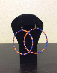 Orange and Blue Hoop Earrings