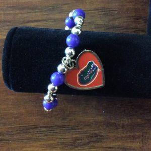 Gator Heart Charm Bracelet