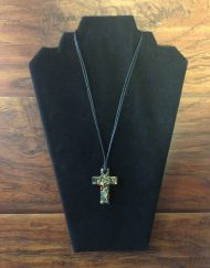Glass Cross with Leather Necklace