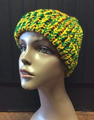 Jobeanies locally handmade green and gold