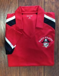 Ladies Pasco Pirates Red Tri-Colored Polo.