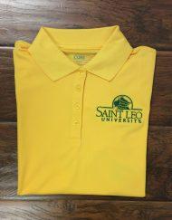 Ladies Saint Leo Yellow Wicking Polo With green logo